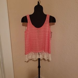 💥🤩unique dyed coral color tank top with lace🌺💥